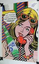 1998 Rolling Rock Latrobe Brewing Beer Pop Art Poster, Roy Lichtenstein Style