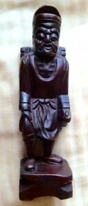 Vintage Chinese Hand Carved Hard Wood Male Statue Figure