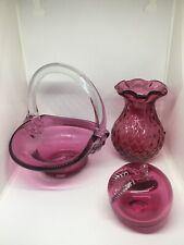 Vintage Lot Of 3 Cranberry Glass. Estate Find