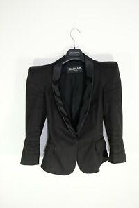 Balmain Pointed Shoulder Black Cotton Blazer Size 36