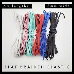 Colourful Flat Rope Braided Elastic 3mm per 5 metres Band Garment