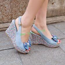 Womens Denim High Heel Wedge Platform Open Toe Pumps Sandals Bowknot Shoes Size