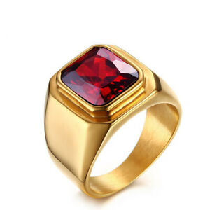 Natural Garnet Gemstone Gold Plated 925 Sterling Silver Men Ring Handmade Ring