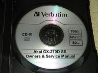 AKAI GX-270D SS REEL TO REEL TAPE DECK OPERATOR'S & SERVICE MANUAL ON A CD
