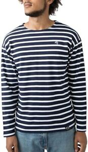 MTS M136 Bio-Baumwolle Langarm T-Shirt COMPANIEER Blau Navy/Weiß Longsleeve Orga