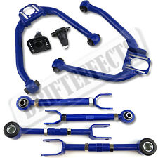 FOR 03-08 350Z Z33 03-06 G35 BLUE FRONT+REAR UPPER CAMBER ARM TOE SET ALIGNMENT