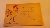 Animal Postcard I luv the Rooster Grace Harlow Artist Signed Josh Billings vtg