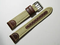 18mm Hadley-Roma MS868 Mens Khaki Tan Canvas and Leather Watch Band Strap