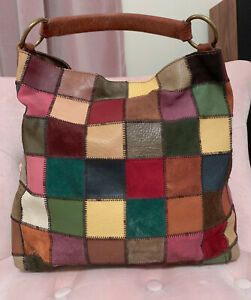 LUCKY BRAND Multi-Color Patchwork Leather Suede Shoulder Hobo Slouchy Purse Bag