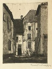 JOHANNES GRAADT van ROGGEN ORIGINAL SIGNED ETCHING 1901 - Dutch Village Scene