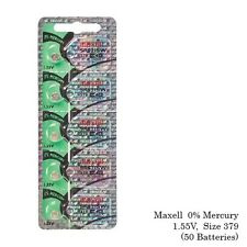 Maxell 379 SR521SW V379 SR521 Silver Oxide Watch Batteries (50 Batteries)