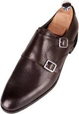 NIB - MEERMIN MALLORCA Men's DOUBLE MONK STRAP Brown LEATHER SHOES - UK 8 / US 9
