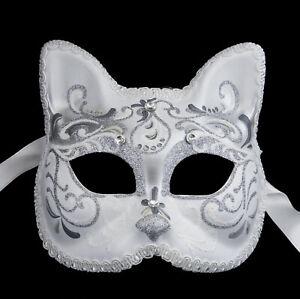 Mask from Venice Silver Luxury Cat Gatto Braid Diamante Iceland 22495