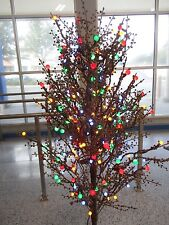 5 FT PRE-LIT BROWN WINTERBERRY W 200 MULTICOLOR LED LIGHTS CHRISTMAS TREE - NEW