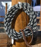 "Jose Ortiz 1/4"" Angora Mohair Mecate Rope Reins 22' - Black & White"