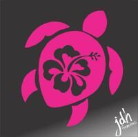 Hibiscus Turtle Vinyl Decal Sticker Cute Car Truck Laptop Girl Pink Flower Surf