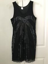 Gatsby Flapper Girl Costume Party Dress Black  Beaded Sequined Lined Size Medium