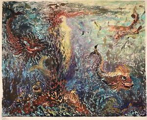 1950's LARGE FRENCH GOUACHE - FISH UNDERWATER REEF - INDISTINCTLY SIGNED