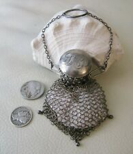 Antique Chatelaine STERLING SILVER Gate Twist Top Fine Mesh Coin Purse LAP