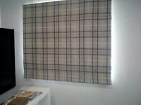 Laura ashley large roman blinds blue grey come with runner and pully chain