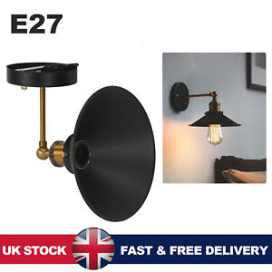 Industrial Retro Adjustable E27 Wall Lights Sconce Lamp Fitting Shade Home Decor