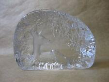 Mats Jonasson Lead Crystal Glass Sculpture ~ Recumbent Deer ~ Sweden ~ Signed