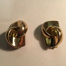 Vintage~*CHRISTAN DIOR~Signed~Clip-On~Gold Tone~Earrings~Unique