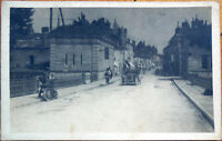 1924 Motorcycle & Car Realphoto Postcard - Zurich, Switzerland Street Scene