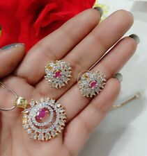 American Diamond Floral Theme Small Ruby Studded Pendant With Stud Earrings Set