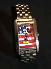 Ladies Disney Patriotic Mickey Mouse American Flag MU1015 Watch Gold Silver SII