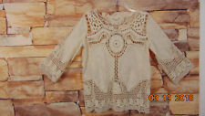 Beige Crochet Shirt Top S  Hint Of Mint 3/4 Sleeve Cotton Embroidery Semi Sheer