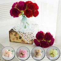5Head Artificial Peony Silk Rose Wedding Flowers White Bridal Bouquet Home Decor