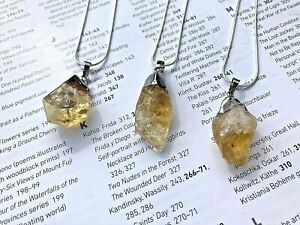Citrine Gem Stone Crystal Pendant Necklace Reiki Healing Gemstone UK seller #56