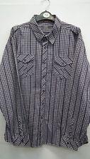 Jeff Banks 24:7 Purple and Black Check shirt  size XL