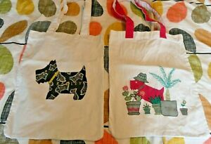 Two Radley Cotton Tote Bags White Cotton with Radley Dog.