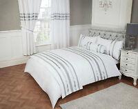 GLITZ RANGE OF 200 T/C 100% COTTON WHITE & SILVER LUXURIOUS BEDDING OR CURTAINS