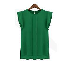 2017 New Womens Casual Shirt Loose Chiffon Short Tulip Sleeve Blouse Shirt Tops