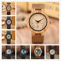 Handmade Bamboo Wooden Women's Quartz Wristwatch Leather Strap Band Bracelet