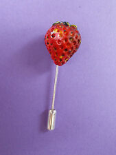 Small Red STRAWBERRY PIN Summer Fruit Wedding Corsage Lapel Brooch HAND PAINTED