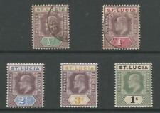 ST LUCIA SG58-62 THE 1902-2 EVII SET OF 5 (THE HALFPENNY & 1d ARE USED) C.£67