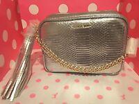 NWT Victorias Secret logo  Silver Crossbody Purse handbag w/gold chain & tassel