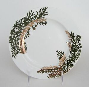 "222 Fifth 222 Fifth GOLDEN PINE ROUND 8"" SALAD PLATES Gold on White SET OF 4 NEW"