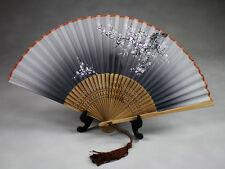 """Tanzfächer, Stofffächer """"Winterblüte"""", grau, chinesischer Handfächer"""