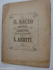 Il Bacio The Kiss Arietta 1863 antique sheet music Luigi Arditi  English/Italian