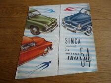 SIMCA ARONDE 1954 CAR BROCHURE jm