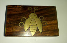 Small Wood and Brass Trinket / Stamp box with Brass Beetle on lid & brass sides