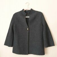 J. McLaughlin Women's 100% Cashmere Thick Cardigan Sweater Gray Single Button SM