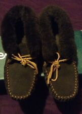 Ladies EMU 8 Chocolate Suede Ankle Bootie Moccasin w/ Merino Wool Lining