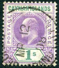 CAYMAN ISLANDS-1907  1/- Violet & Green Sg 15 GOOD USED V30282
