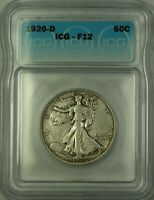 1920-D Walking Liberty Silver Half Dollar 50c Coin ICG F-12 (Better Coin)